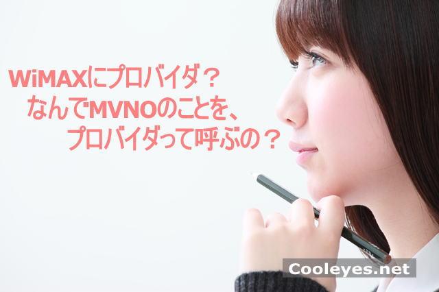 WiMAXにプロバイダ?なんでMVNOの事をプロバイダって呼ぶの?